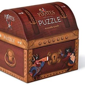 Crocodile Creek Double Fun Puzzle in Treasure Trunk Shaped Box Pirate's Treasure