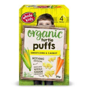 Whole Kids Organic Turtle Puffs 24gm - Sweetcorn & Carrot