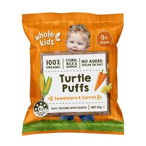 Whole Kids Turtle Puffs 10gm - Sweetcorn & Carrot