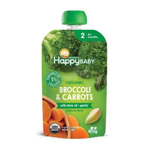 Happy Baby Organic Savory Blends Stage 2 Broccoli & Carrots with olive oil + garlic