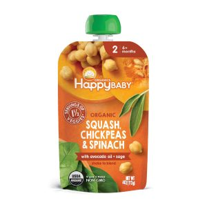 Happy Baby Organic Savory Blends Stage 2 Squash, Chickpeas & Spinach with avocado oil + sage